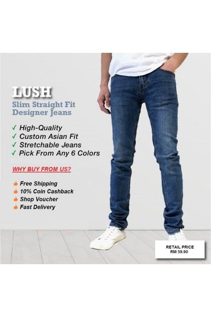 Lush Indigo Blue Denim Men's Slim Fit Jeans